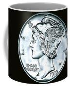 Black Silver Mercury Dime Coffee Mug