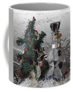 Silver Snowman With Christmas Tree Coffee Mug