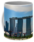 Singapore Skyline With Marina Bay Sands And Gardens By The Bay Supertrees Coffee Mug