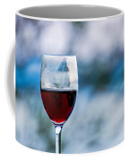 Single Glass Of Red Wine On Blue And White Background Coffee Mug