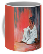 Sitting Lady In White Next To A Red Wall Coffee Mug