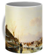 Skaters By A Booth On A Frozen River Coffee Mug