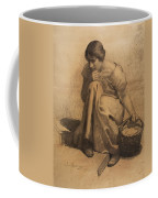 Sketch Of A Girl With A Basket Coffee Mug