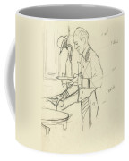 Sketch Of Waiter Pouring Wine Coffee Mug