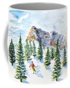 Skier In The Trees Coffee Mug