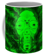 Skull In Radioactive Negative Green Coffee Mug