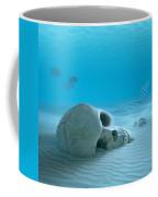 Skull On Sandy Ocean Bottom Coffee Mug