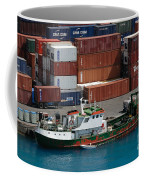 Small Boat With Cargo Containers Coffee Mug