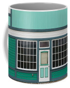 Small Store Front Entrance To Green Wooden House Coffee Mug