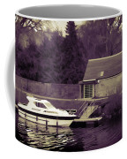 Small White Yacht In The Water Of The Caledonian Canal Coffee Mug