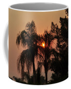 Smoke Covered Sky Sunset Thru The Palm Trees Coffee Mug