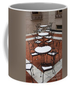 Snow Covered Patio Chairs And Tables Coffee Mug