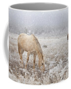Snow Falling On Horses Coffee Mug