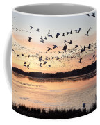 Snow Geese At Chincoteague Last Flight Of The Day Coffee Mug