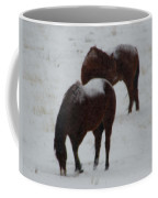 Snow On Horses Coffee Mug