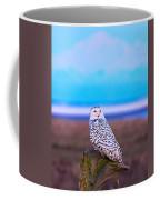 Snow Owl At Sunset Coffee Mug