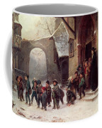Snow Scene  Children Leaving School Coffee Mug