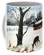 Snowfall And Visiting Doe Coffee Mug