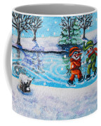 Snowman Friends Ice Skating  P2 Coffee Mug