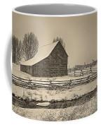 Snowstorm At The Ranch Sepia Coffee Mug