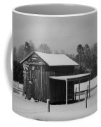 Snowy Barn Bw Coffee Mug