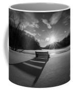 Snowy Bench Bw Coffee Mug