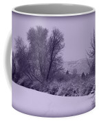 Snowy Bench In Purple Coffee Mug