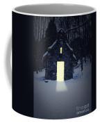 Snowy Chapel At Night Coffee Mug