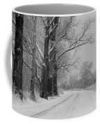 Snowy Country Road - Black And White Coffee Mug
