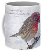 Snowy Day Housefinch With Verse  Coffee Mug