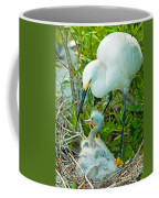 Snowy Egret Tending Young Coffee Mug