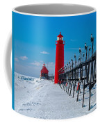 Snowy Grand Haven Pier Coffee Mug