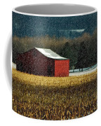 Snowy Red Barn In Winter Coffee Mug