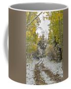 Snowy Road In Fall Coffee Mug