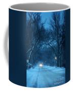 Snowy Road On A Winter Evening Coffee Mug