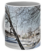 Snowy View Of Boathouserow Coffee Mug