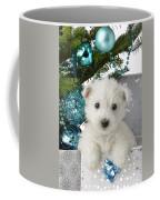 Snowy White Puppy Present Coffee Mug