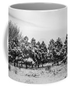 Snowy Winter Pine Trees In Black And White Coffee Mug