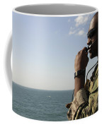 Soldier Instructs Small Boat Maneuvers Coffee Mug