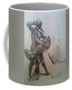 Soldier Slaying A Demon With Abstract Echo Coffee Mug