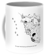 Soldiers And A Mime Behind Bullet Holed Wall Coffee Mug