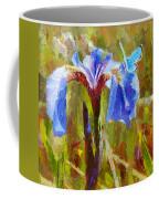 Alaskan Wild Iris And Blue Butterfly Flower Painting Coffee Mug