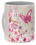 Sophisticated Elegant Whimsical Pink Butterfly Floral Flower Art Springs Joy By Megan Duncanson Coffee Mug by Megan Duncanson