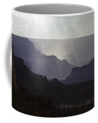 South Rim Grand Canyon Storm Clouds And Sunray Light On Rock For Coffee Mug