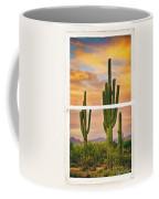 Southwest Desert Sunset White Rustic Distressed Window Art Coffee Mug