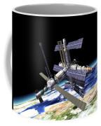 Space Station In Orbit Around Earth Coffee Mug