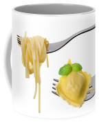 Spaghetti And Ravioli On Forks White Background Coffee Mug