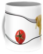 Spaghetti And Tomato On Fork White Background Coffee Mug