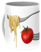 Spaghetti And Tomato On Forks Isolated Coffee Mug