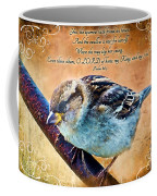 Sparrow With Verse And Painted Effect Coffee Mug